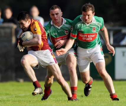 7/8/2010 Michael Keane, Ballinrobe in action against  Thomas Doherty and Kenny Goldan, Ballina Stephenites in the Mayo senior club football championship at Flanagan Park, Ballinrobe. Picture Ray Ryan