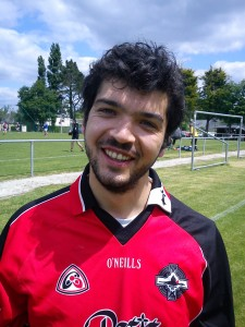 Jonathan Leroy, Rennes GAA. Hopes to meet Leroy Keegan while he's here.  Born: Bourg-la-Reine Nationality: French/Breton Started playing: 2009 Position: Full back