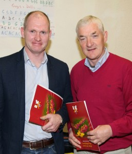 At the launch of the Ballinrobe GAA Club Coaching Plan were former Mayo team captains Fergal Costello, who launched the plan, and Tommy O'Malley.              Pic: Trish Forde.