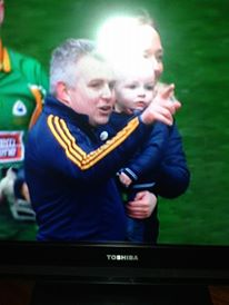 Stephen, Darragh and (if you look closely), Laura celebrate on the sacred sod of Croke Park yesterday.