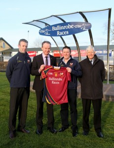 Ballinrobe Races are the new sponsors of the Ballinrobe Senior Gaelic Football Team and are pictured presenting Team Jerseys to Club members:Left to right: Donal McCormack(Club Secretary), Racecourse Manager John Flannelly, Club Chairman Declan Corcoran and Race Committee Chairman John Staunton.       Pic:Trish Forde.